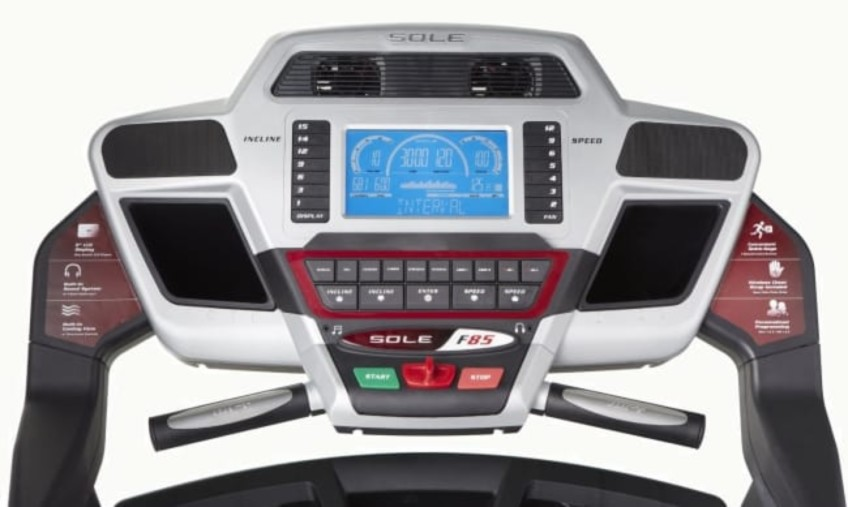 The Console Of The Sole F85 Treadmill Is Full-Featured
