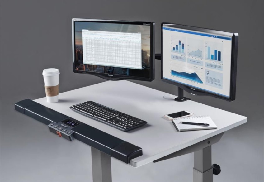 Lifespan Fitness Treadmill Desk Showing Monitors Mounted on the Surface