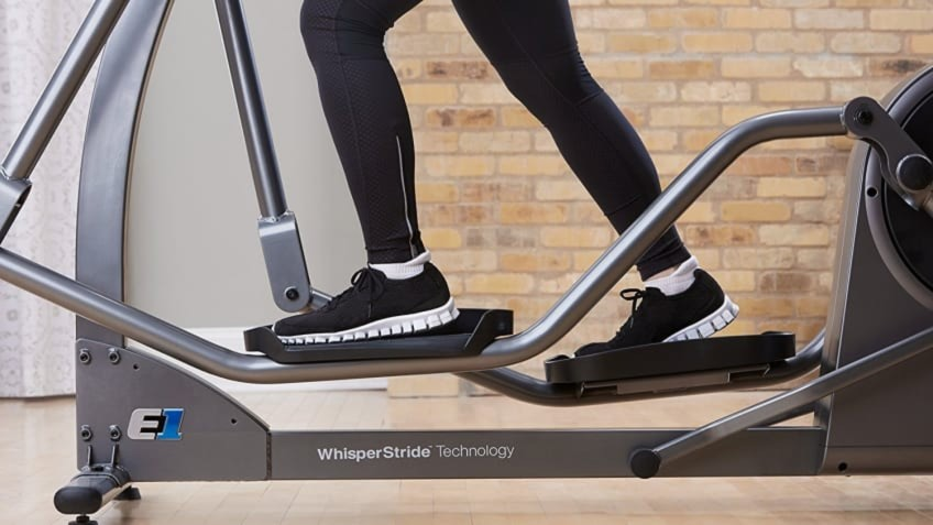 The Life Fitness E1 Go Elliptical In Use In a Home